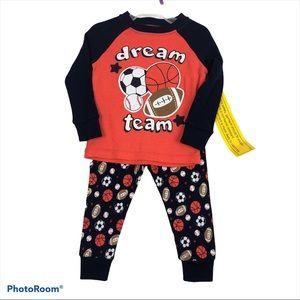 Baby Boy 12 Months Sports Pajamas Two Piece NEW